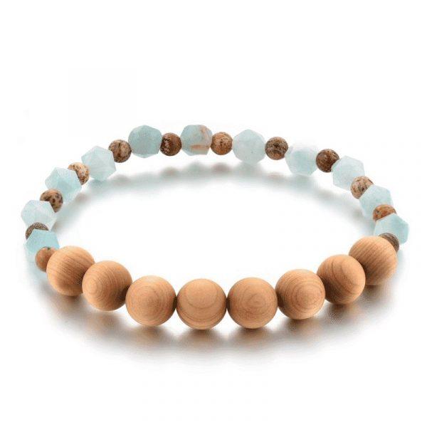 Wooden mala bracelet with jade stone
