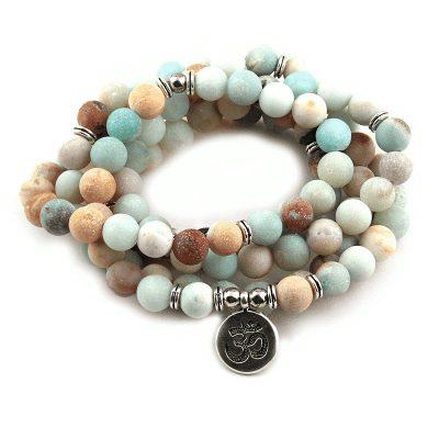 Amazonite mala prayer beads with om symbol pendant