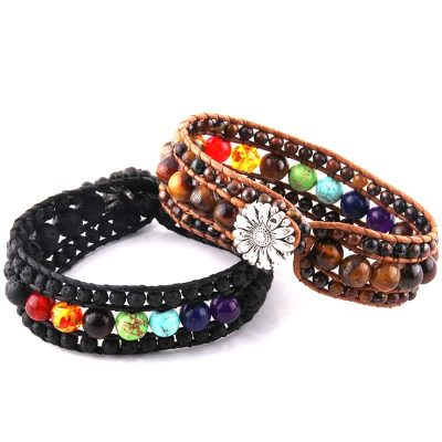 Chakra leather wrap bracelet with sunflower facet