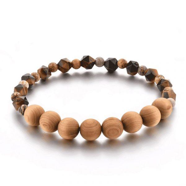 Wooden mala bracelet with tiger eye stone