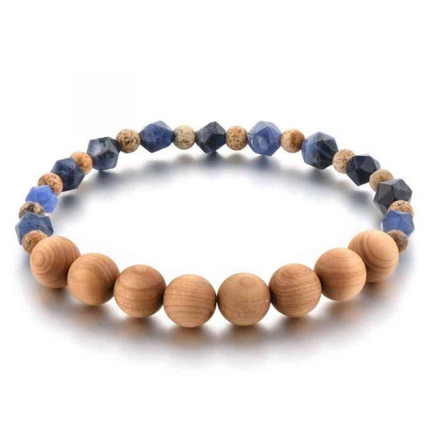 Wooden mala bracelet with sodalite stone