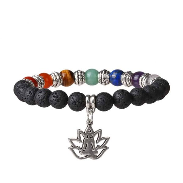 Chakra and lava stone bracelet with lotus yoga pose pendant