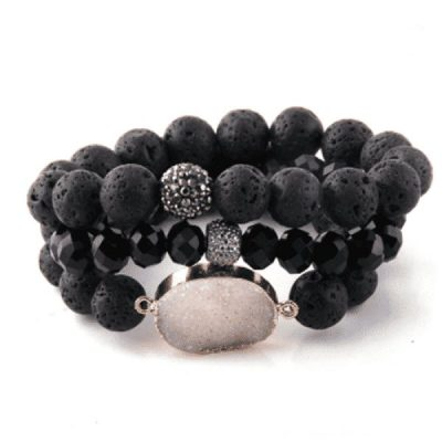 Black lava stone bracelet set with druzy pendant