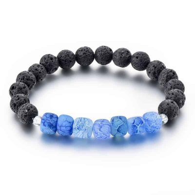 Blue dragon vein agate diffuser bracelet with lava stone