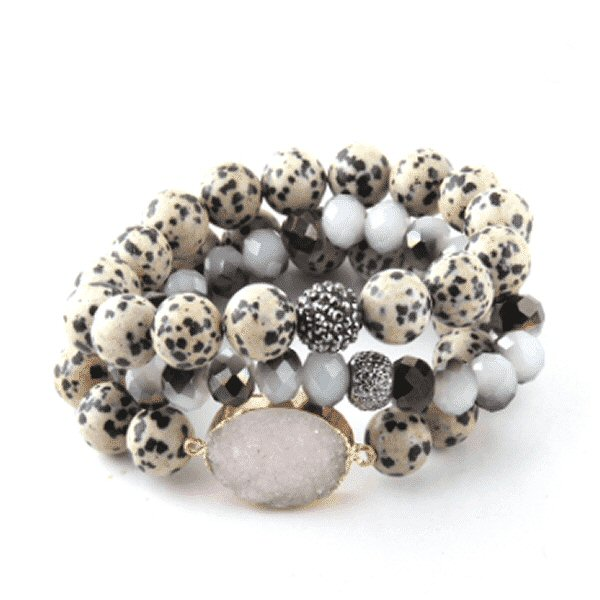 Dalmation stone bracelet set with druzy stone pendant