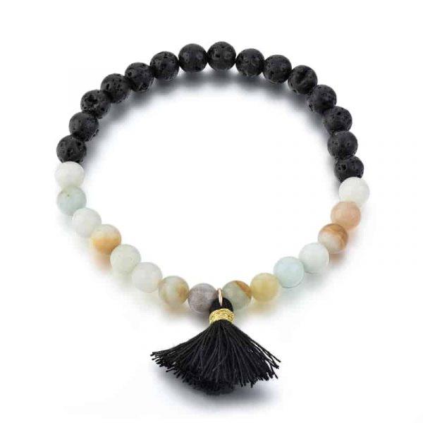 Amazonite and lava stone bracelet with tassel