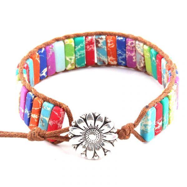 Rainbow multi-color wrap bracelet with sunflower facet