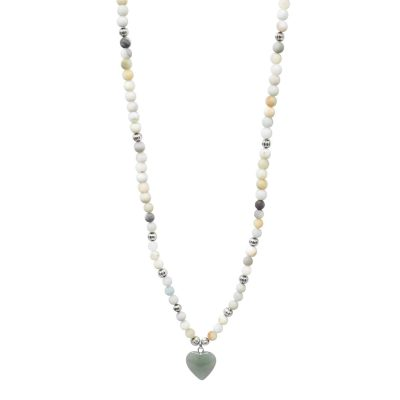 Amazonite mala necklace with heart pendant
