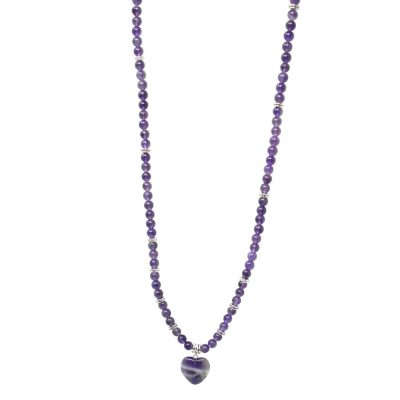 Amethyst purple mala necklace with heart pendant