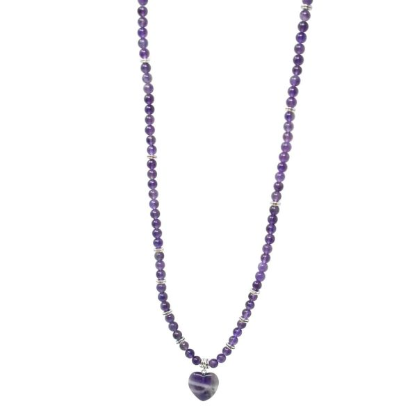 Amethyst purple mala necklace with heart pendant
