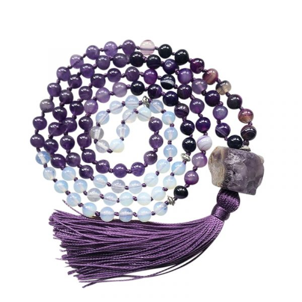 Amethyst mala tassel necklace with raw stone pendant
