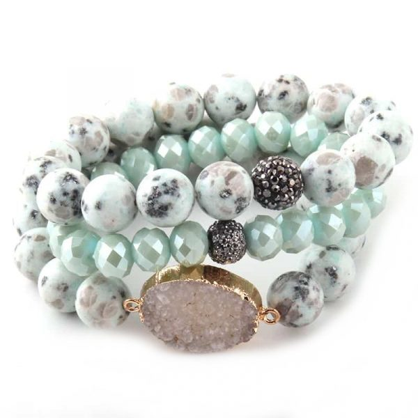 Aqua druzy stone layer bracelet with crystal and rhinestone