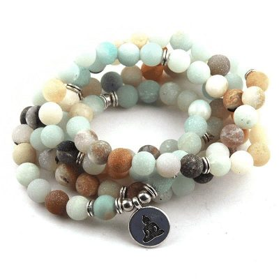 Amazonite mala prayer beads with budha pendant