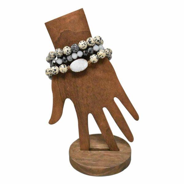 Dalmation layer bracelet with druzy stone pendant