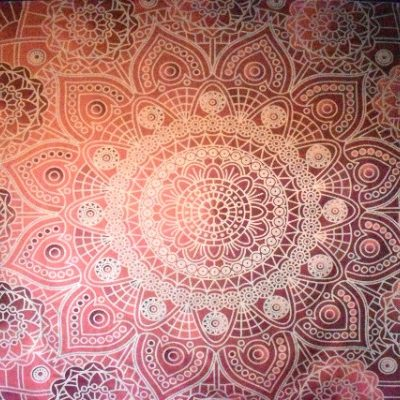 Pink flowers mandala tapestry