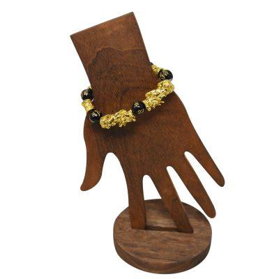 Feng shui black obsidian Bracelet with pi yao lion pendant