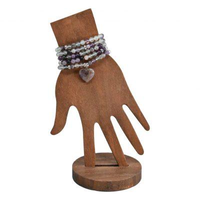 Fluorite mala bracelet with heart pendant