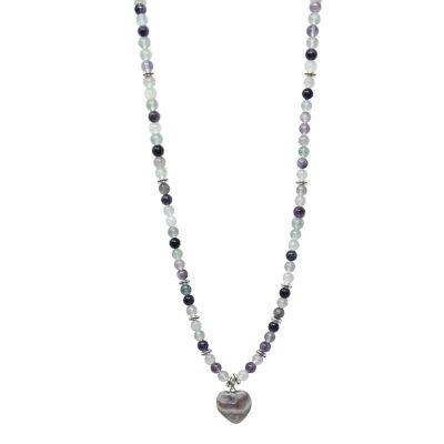 Fluorite mala necklace with heart pendant