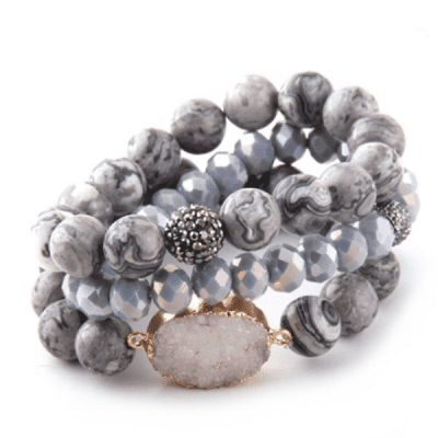 Gray druzy stone layer bracelet with crystal and rhinestone