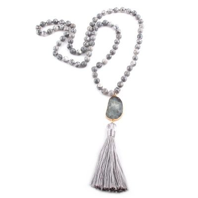 Gray marble tassel necklace with stone pendant