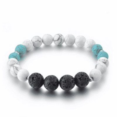 Howlite and turquoise lava stone diffuser bracelet