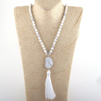 Howlite beaded tassel necklace with stone pendant