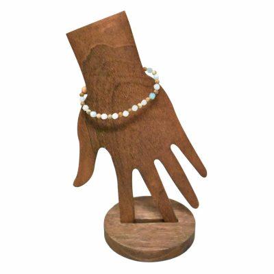 Wooden beads with jade stone bracelet back