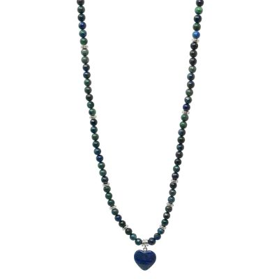 Lapis lazuli dark blue mala necklace with heart pendant