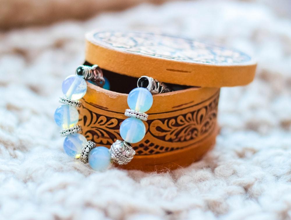 Moonstone bracelet in wooden jewelry box