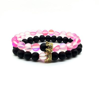 Pink glow distance bracelets set for him and her