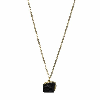 raw black tourmaline necklace with gold chain