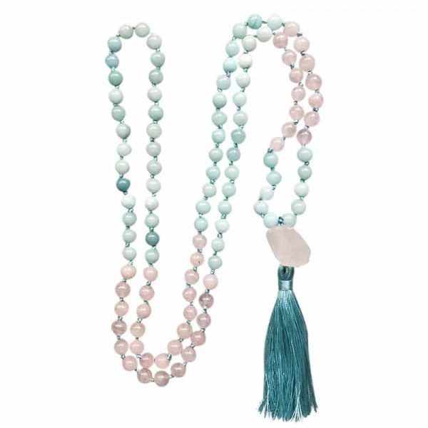 Rose Quartz and blue stone mala with tassel necklace