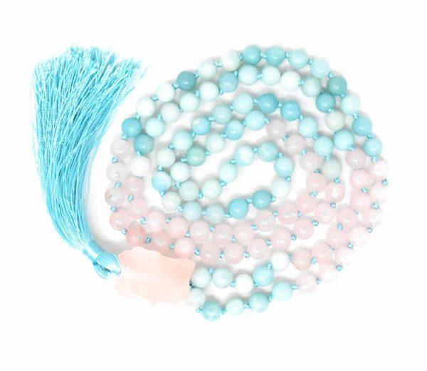 Rose quartz and blue stone mala tassel necklace with quartz pendant