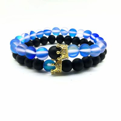 Royal blue distance bracelets set for him and her