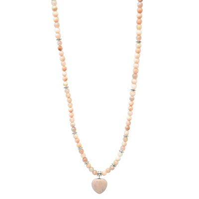 Sunstone mala necklace with heart pendant