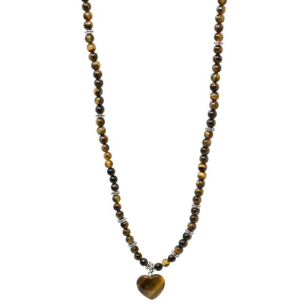 Tiger eye brown mala necklace with heart pendant