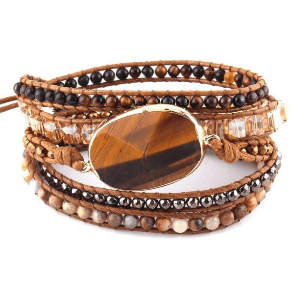Tiger eye leather wrap bracelet with beaded stone and crystal