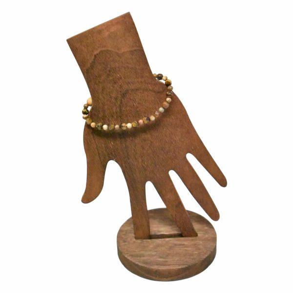 Wooden beads with tiger eye stone bracelet back