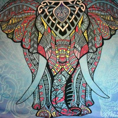 Tribal elepahant mandala tapestry