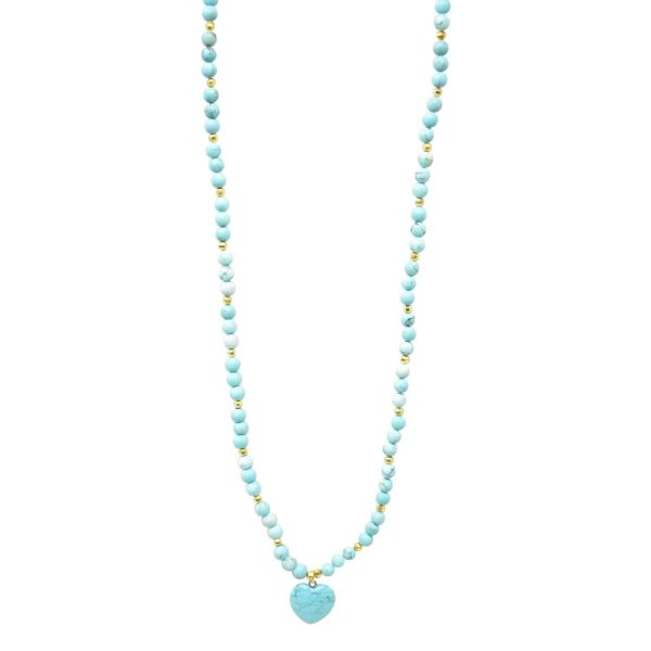 Turquoise light blue mala necklace with heart pendant