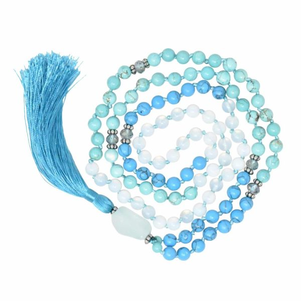 Turquoise beaded mala tassel necklace with quartz stone