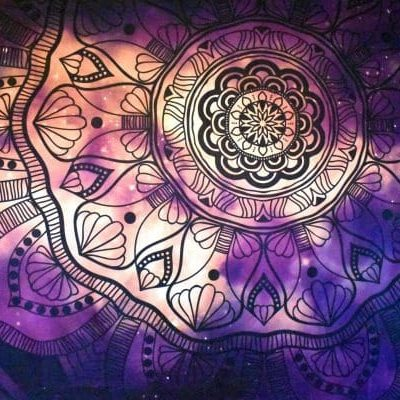 Purple and pink flower mandala wall tapestry